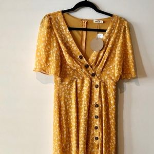 Mustard yellow maxi dress with white flowers